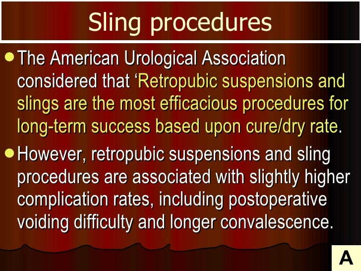 <ul><li>The American Urological Association considered that ' Retropubic suspensions and slings are the most efficacious p...