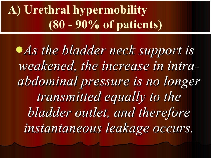 <ul><li>As the bladder neck support is weakened, the increase in intra-abdominal pressure is no longer transmitted equally...