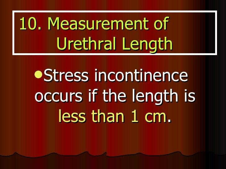 <ul><li>Stress incontinence occurs if the length is  less than 1 cm . </li></ul>10. Measurement of  Urethral Length