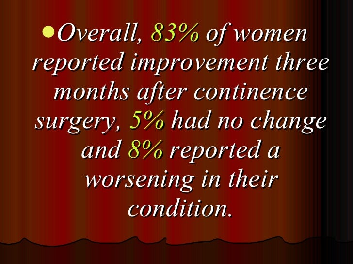 <ul><li>Overall,  83%  of women reported improvement three months after continence surgery,  5%  had no change and  8%  re...