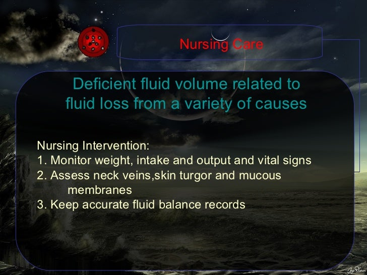 Deficient fluid volume related to fluid loss from a variety of causes Nursing Intervention: 1. Monitor weight, intake and ...