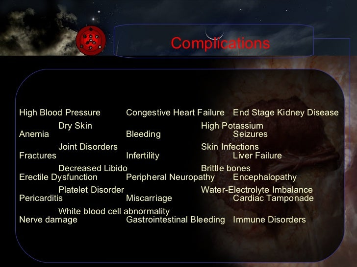 Complications High Blood Pressure Congestive Heart Failure End Stage Kidney Disease Anemia Bleeding Seizures Fractures Inf...