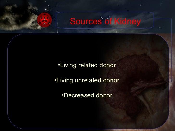 <ul><li>Living related donor </li></ul><ul><li>Living unrelated donor </li></ul><ul><li>Decreased donor </li></ul>Sources ...