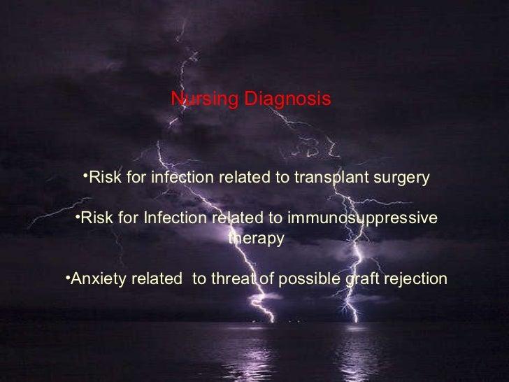 Nursing Diagnosis <ul><li>Risk for infection related to transplant surgery </li></ul><ul><li>Risk for Infection related to...