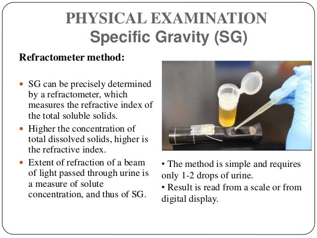 PHYSICAL EXAMINATION Specific Gravity (SG) Refractometer method:  SG can be precisely determined by a refractometer, whic...