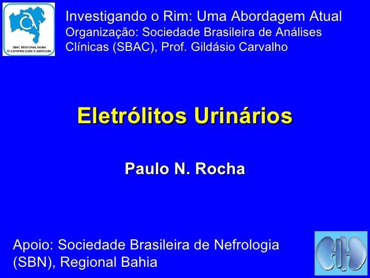 Eletrólitos Urinários Paulo N. Rocha Investigando o Rim: Uma Abordagem Atual Organização: Sociedade Brasileira de Análises...