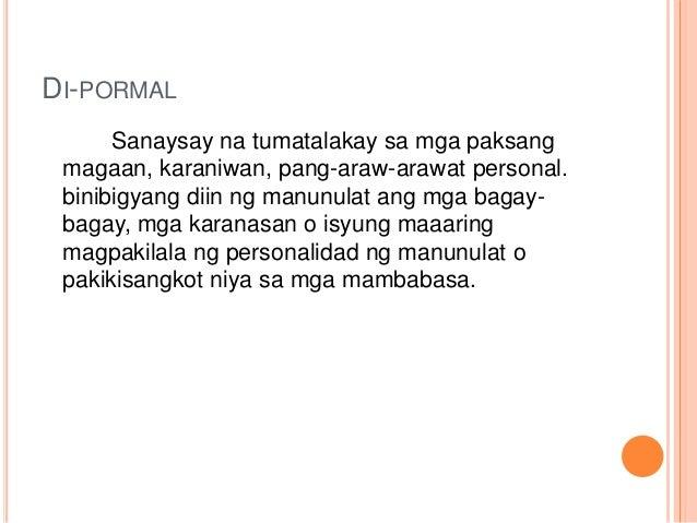 halimbawa ng di pormal na sanaysay tagalog Halimbawa ng impormal na sanaysay at pormal na sanaysay 4 abr 2013 halimbawa ng impormal na sanaysay at pormal na sanaysay 1 obillo, nichole beatrize v setyembre 21, 2012a203 gng josefina c pereznbsp 2019 2018.