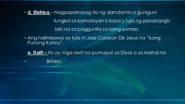 """halimbawa ng tulang moralistiko Ang tatlong panahon ng tulang tagalog"""" ni julian cruz balmaceda """" ang pagkakaunlad ng nobelang tagalog"""" ni inigo ed regalado """" noli me tangere"""" at """"el filibusterismo"""" ni dr jose rizal """"hulyo 4, 1954"""" ni dionisio s salazar mga halimbawa: 6 """" dekada '70 """" ni lualhati bautista """" etsa."""