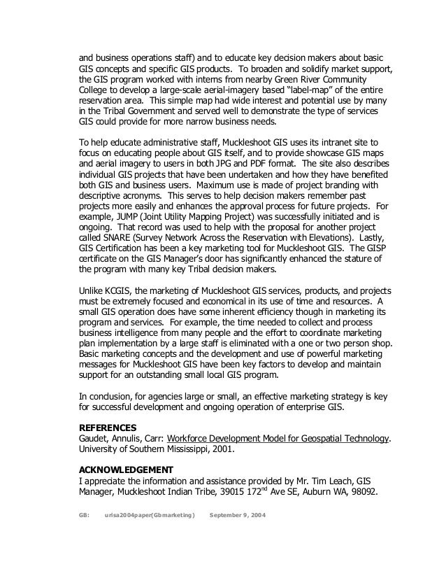 Effective Marketing: a Key Success Factor for Enterprise GIS, 2004 UR…