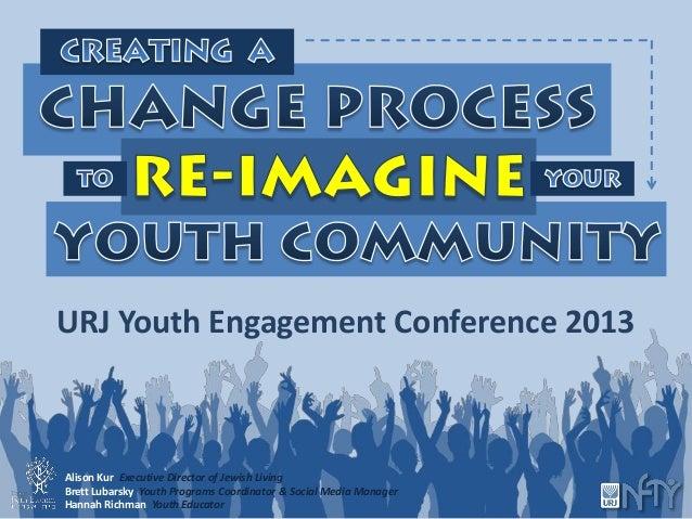 URJ Youth Engagement Conference 2013Alison Kur Executive Director of Jewish LivingBrett Lubarsky Youth Programs Coordinato...