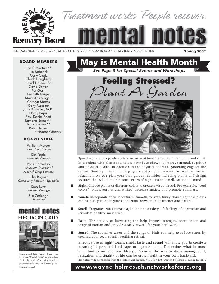 Treatment works.People recover.THE WAYNE-HOLMES MENTAL HEALTH & RECOVERY BOARD QUARTERLY NEWSLETTER                       ...