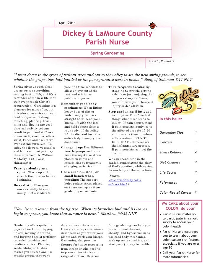 April 2011                                    Dickey & LaMoure County                                          Parish Nurs...