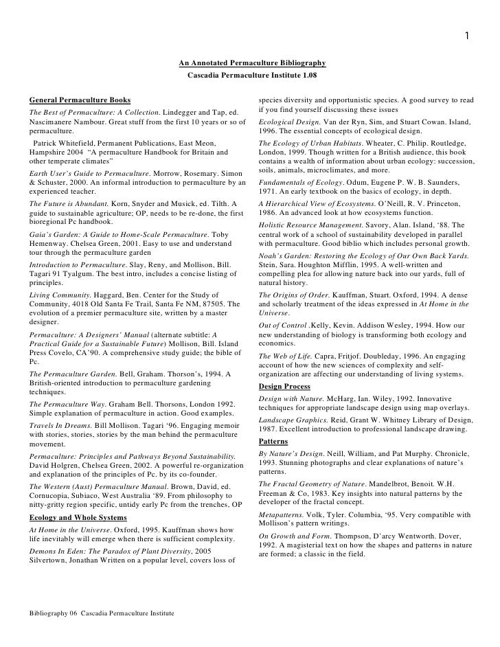 1                                                  An Annotated Permaculture Bibliography                                 ...