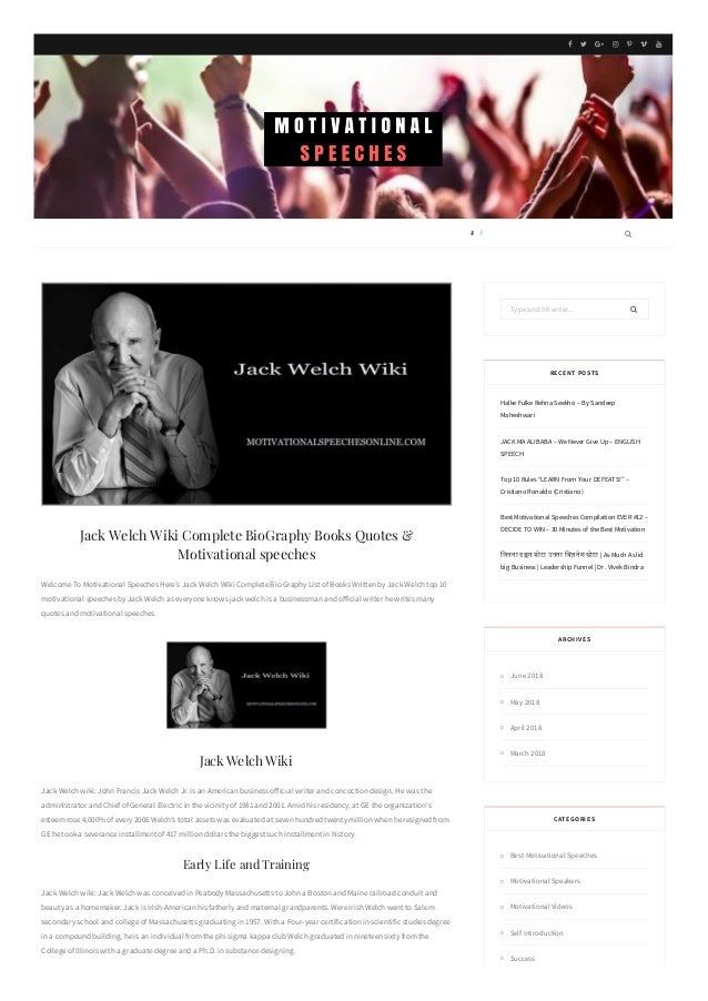 Jack Welch Wiki Complete Biography Books Quotes Motivational Speech