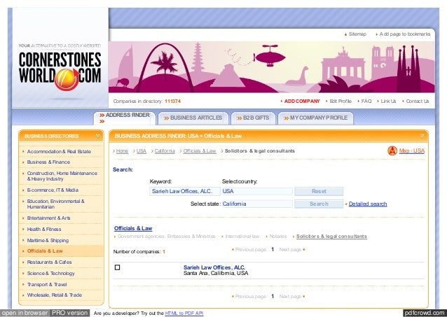 Business & Hotel Directory Europe & USA