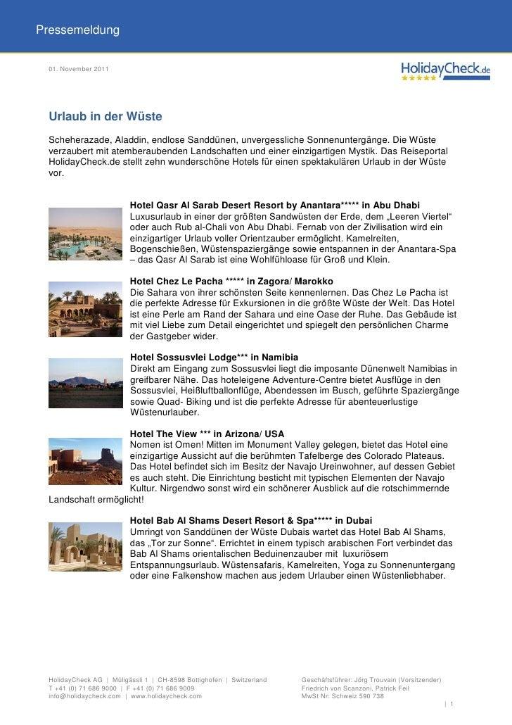 Pressemeldung 01. November 2011 Urlaub in der Wüste Scheherazade, Aladdin, endlose Sanddünen, unvergessliche Sonnenuntergä...