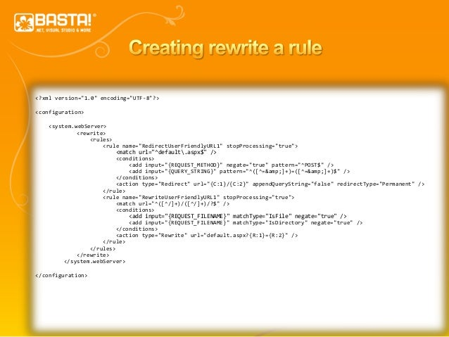 "16 <?xml version=""1.0"" encoding=""UTF-8""?> <configuration> <system.webServer> <rewrite> <rules> <rule name=""RedirectUserFri..."