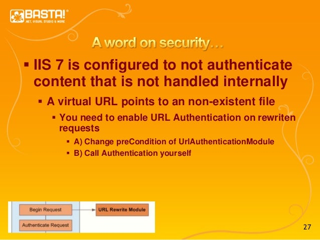 27  IIS 7 is configured to not authenticate content that is not handled internally  A virtual URL points to an non-exist...