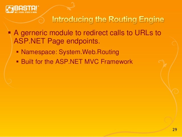29  A gerneric module to redirect calls to URLs to ASP.NET Page endpoints.  Namespace: System.Web.Routing  Built for th...