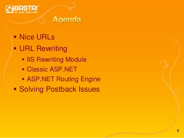 4  Nice URLs  URL Rewriting  IIS Rewriting Module  Classic ASP.NET  ASP.NET Routing Engine  Solving Postback Issues