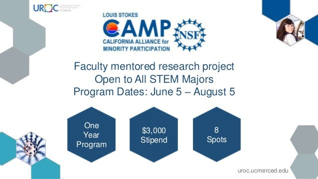 Faculty mentored research project Open to All STEM Majors Program Dates: June 5 – August 5 One Year Program $3,000 Stipend...