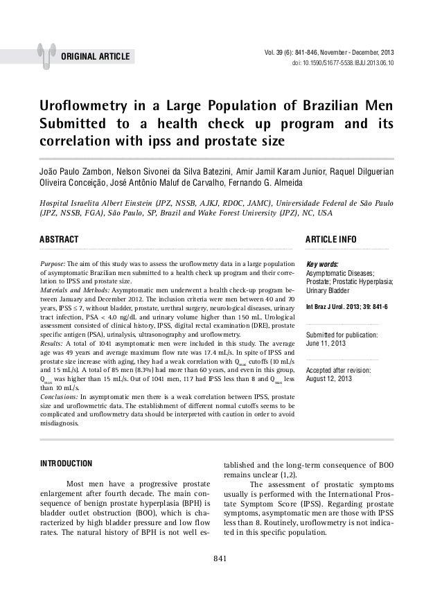 Vol. 39 (6): 841-846, November - December, 2013  ORIGINAL Article  doi: 10.1590/S1677-5538.IBJU.2013.06.10  Uroflowmetry i...