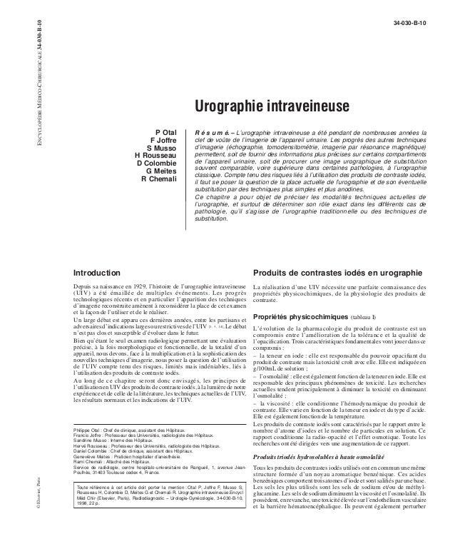 Urographie intraveineuse  P Otal  F Joffre  S Musso  H Rousseau  D Colombie  G Meites  R Chemali  34-030-B-10  R é s u m é...