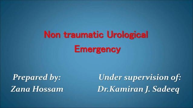 Non traumatic Urological Emergency Prepared by: Under supervision of: Zana Hossam Dr.Kamiran J. Sadeeq