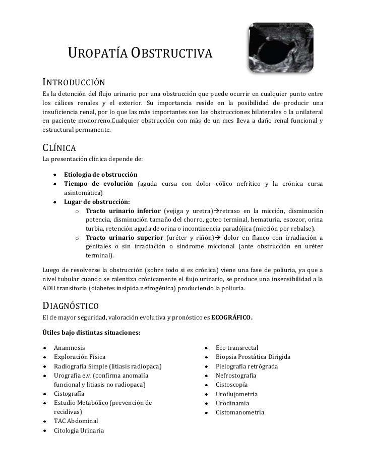 4373880-41402000Uropatía Obstructiva<br />Introducción<br />Es la detención del flujo urinario por una obstrucción que pue...
