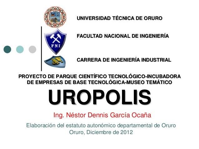 UNIVERSIDAD TÉCNICA DE ORURO                     FACULTAD NACIONAL DE INGENIERÍA                     CARRERA DE INGENIERÍA...