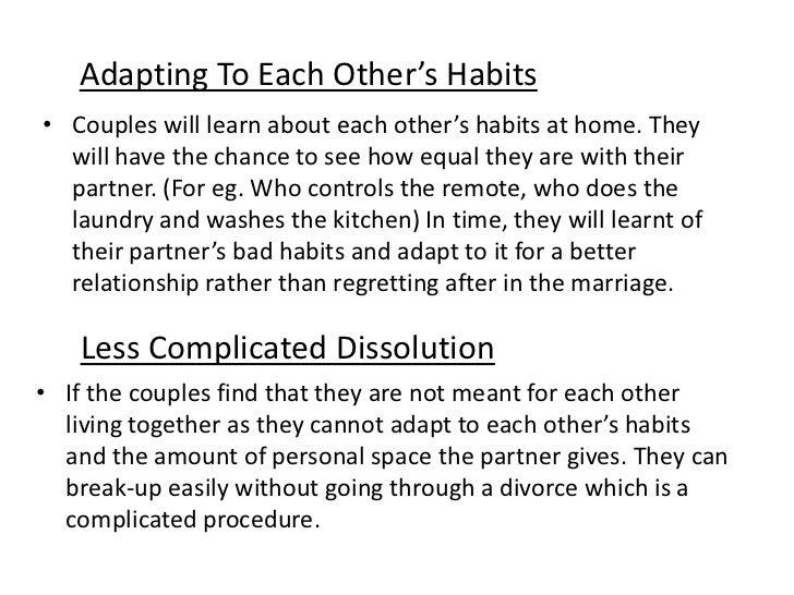 Pros of cohabitation