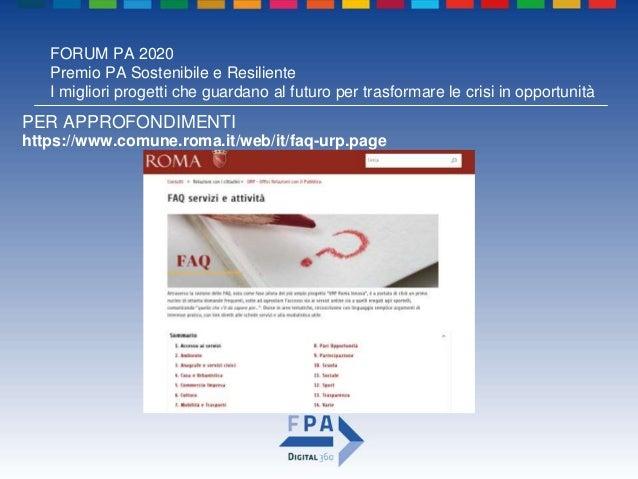FORUM PA 2020 Premio PA Sostenibile e Resiliente I migliori progetti che guardano al futuro per trasformare le crisi in op...
