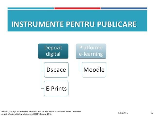 INSTRUMENTE PENTRU PUBLICARE Depozit digital Dspace E-Prints Platforme e-learning Moodle 236/02/2016 Ursachi, Lenuța. Inst...