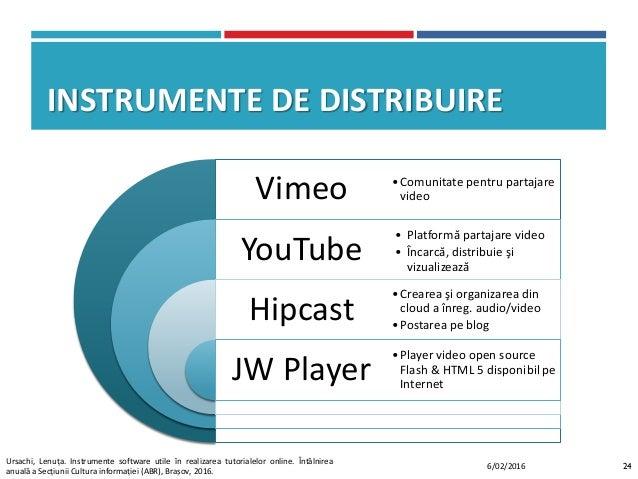 INSTRUMENTE DE DISTRIBUIRE Vimeo YouTube Hipcast JW Player •Comunitate pentru partajare video •Crearea şi organizarea din ...