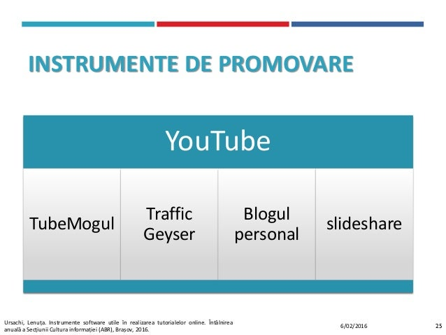 INSTRUMENTE DE PROMOVARE YouTube TubeMogul Traffic Geyser Blogul personal slideshare 256/02/2016 Ursachi, Lenuța. Instrume...