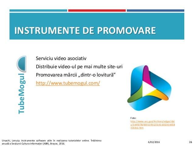 """INSTRUMENTE DE PROMOVARE TubeMogul Serviciu video asociativ Distribuie video-ul pe mai multe site-uri Promovarea mărcii """"d..."""