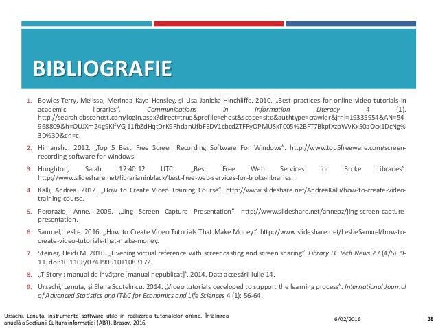 """BIBLIOGRAFIE 1. Bowles-Terry, Melissa, Merinda Kaye Hensley, și Lisa Janicke Hinchliffe. 2010. """"Best practices for online ..."""