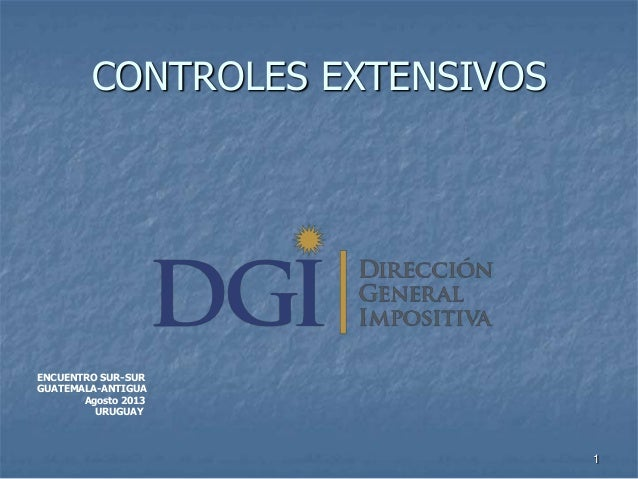 CONTROLES EXTENSIVOS  ENCUENTRO SUR-SUR GUATEMALA-ANTIGUA Agosto 2013 URUGUAY  1