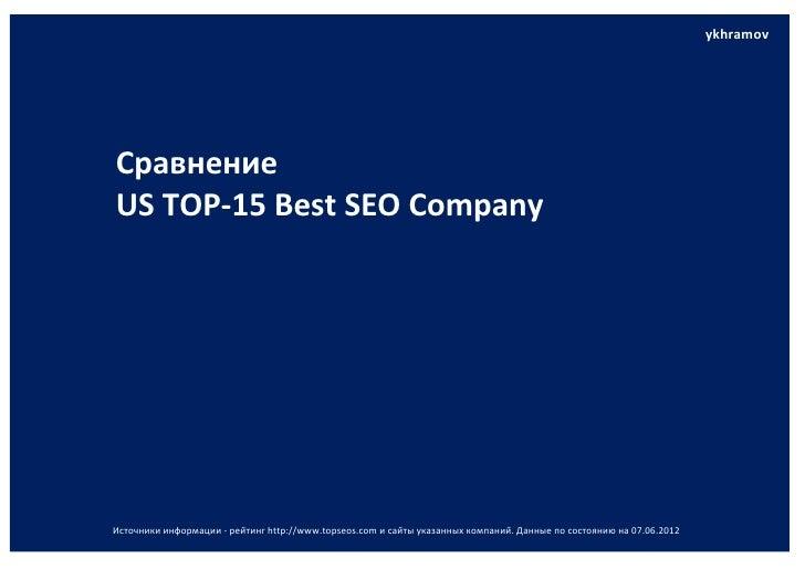 ykhramov .СравнениеUS ТОР-15 Best SEO CompanyИсточники информации - рейтинг http://www.topseos.com и сайты указанных компа...