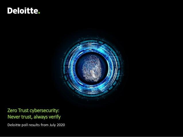 Zero Trust cybersecurity: Never trust, always verify Deloitte poll results from July 2020