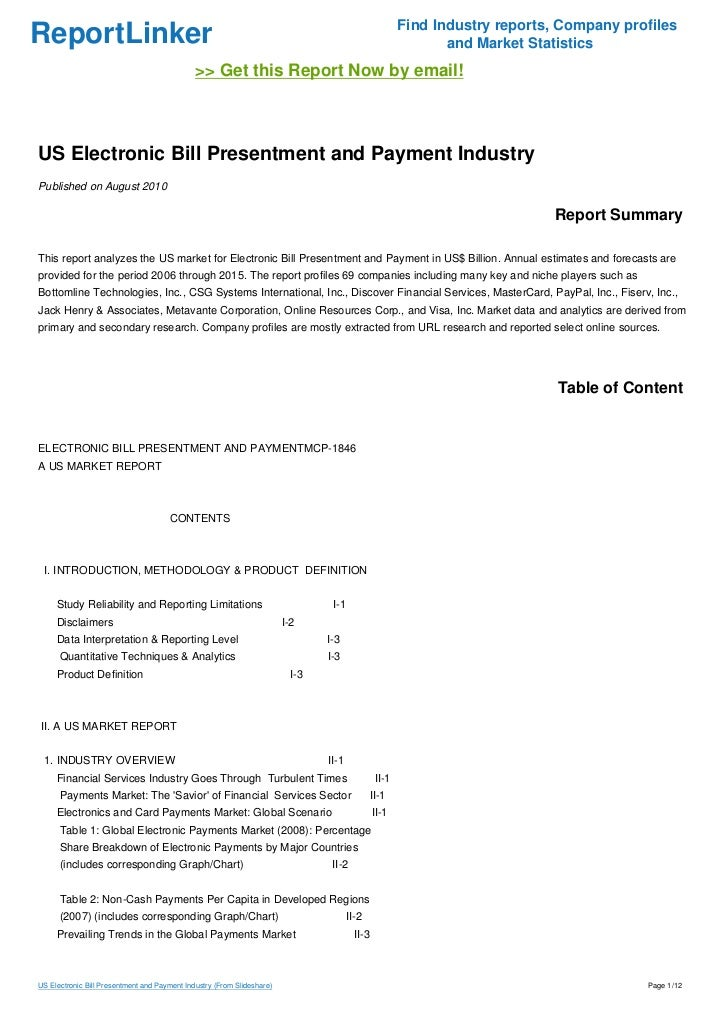 us electronic bill presentment and payment industry