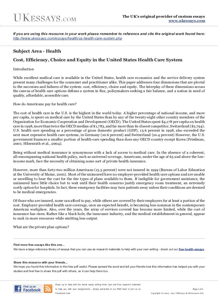 health essays  us health care system