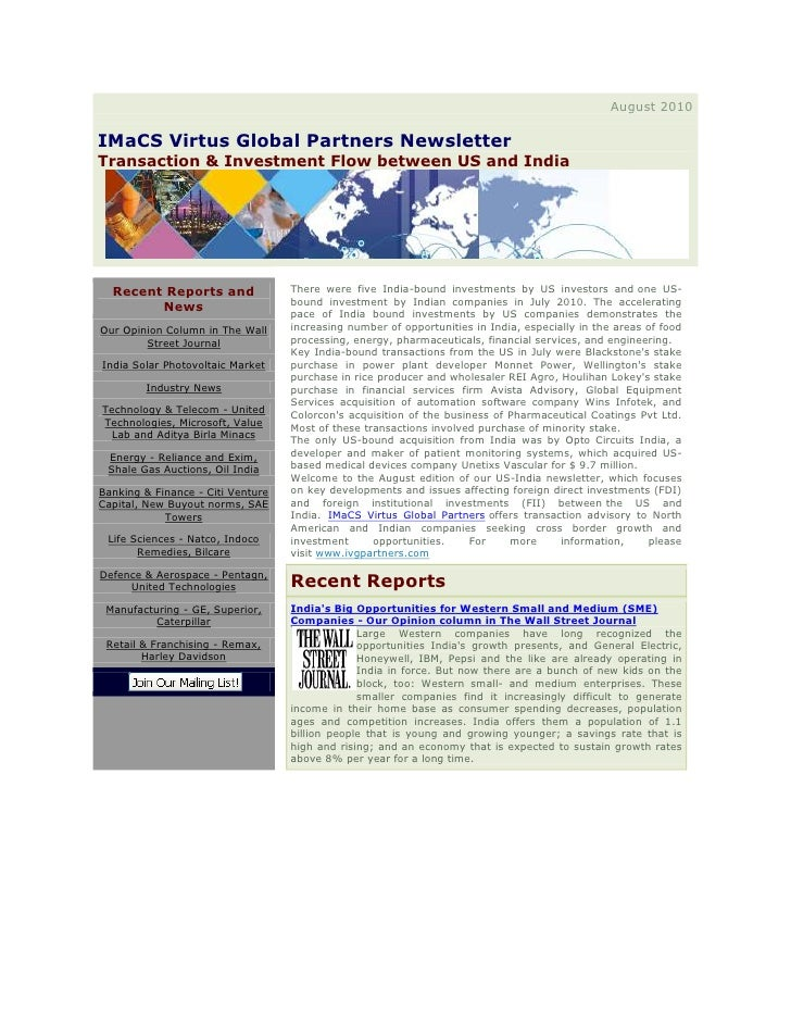August2010IMaCS Virtus Global PartnersNewsletterTransaction & InvestmentFlowbetween US and IndiaRecent Reports and ...
