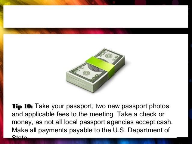 us passport application check payable
