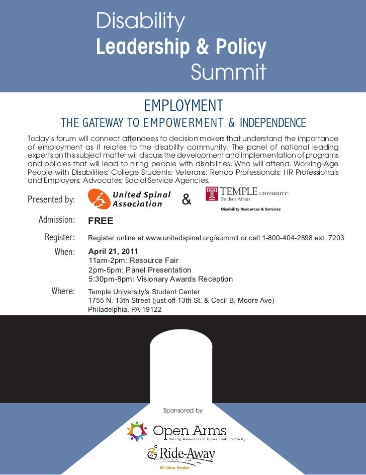 EMPLOYMENT         THE GATEWAY TO EMPOWERMENT & INDEPENDENCEToday's forum will connect attendees to decision makers that u...