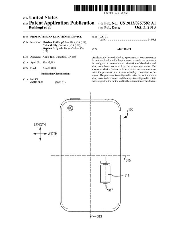 Apple patent for protecting devices when they fall