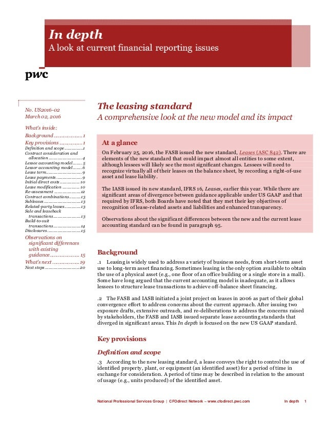 National Professional Services Group | CFOdirect Network – www.cfodirect.pwc.com In depth 1 The leasing standard A compreh...