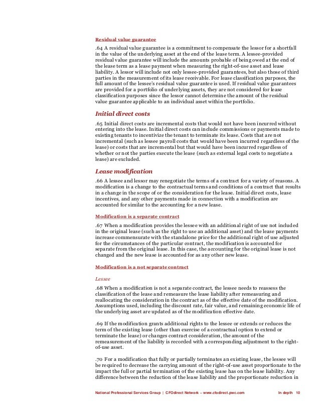 National Professional Services Group   CFOdirect Network – www.cfodirect.pwc.com In depth 10 Residual value guarantee .64 ...