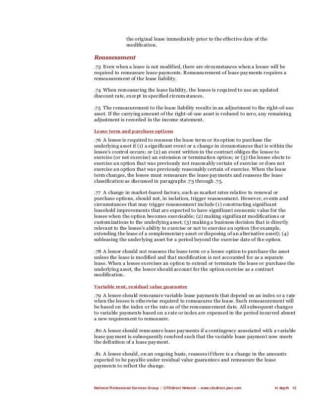 National Professional Services Group   CFOdirect Network – www.cfodirect.pwc.com In depth 12 the original lease immediatel...