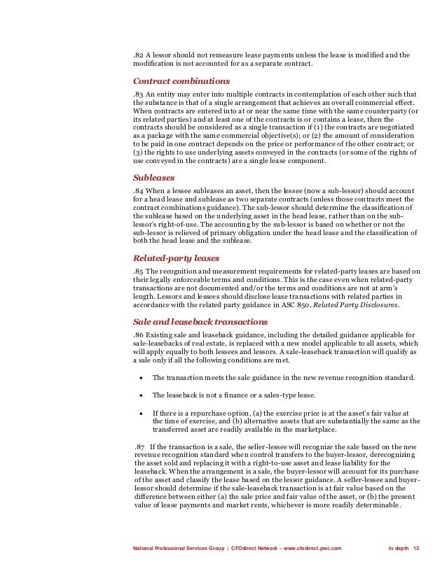 National Professional Services Group   CFOdirect Network – www.cfodirect.pwc.com In depth 13 .82 A lessor should not remea...